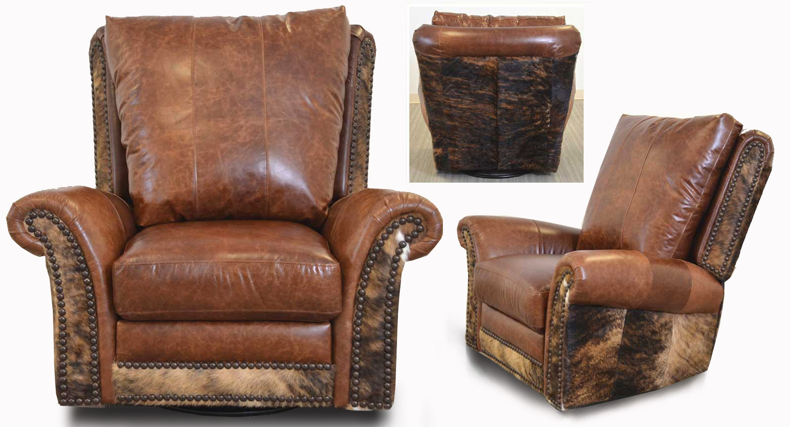 Swivel Glider Recliner Hair On Hide