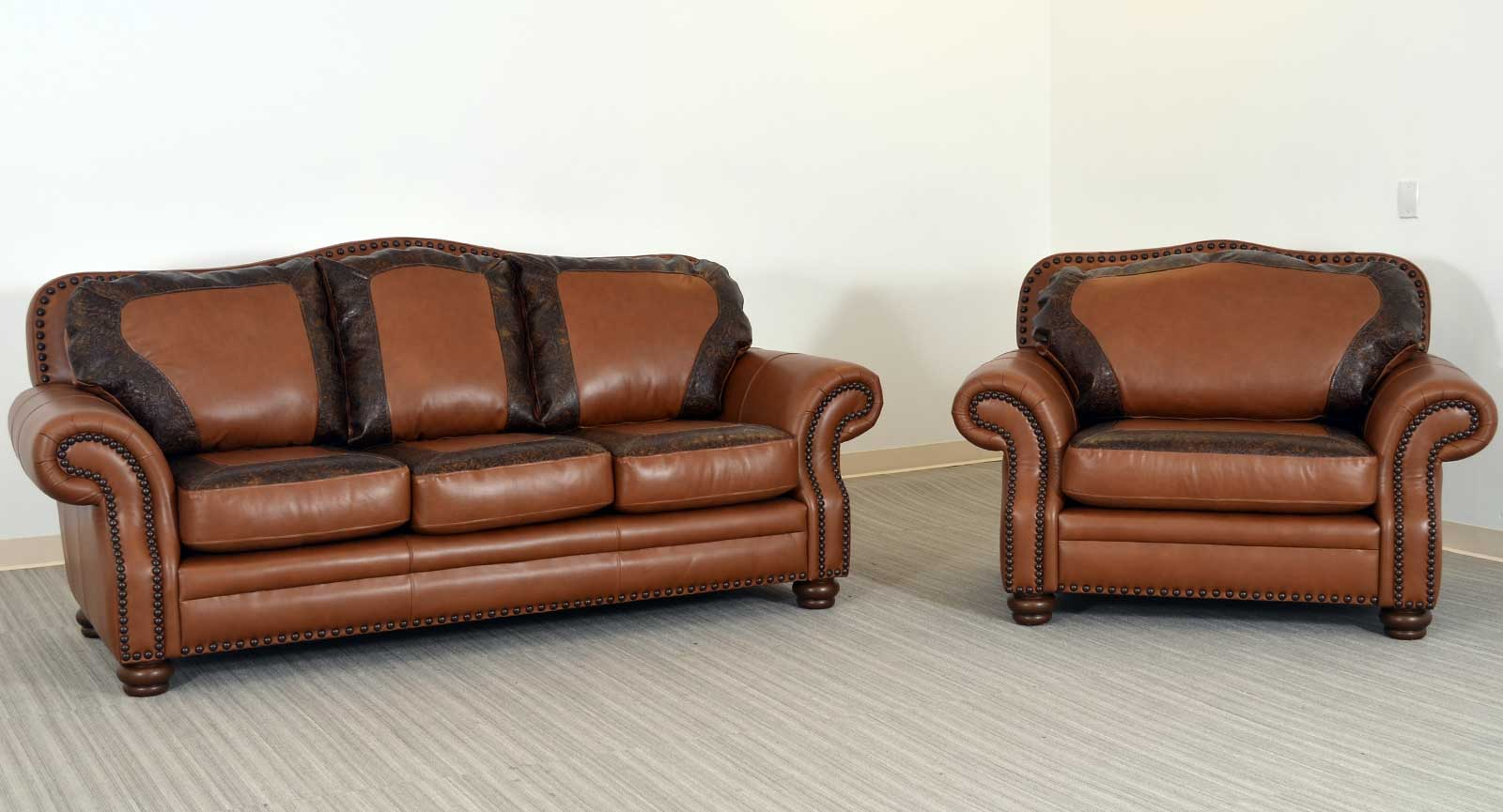 Three Seat Sofa Chair And Half Embossed
